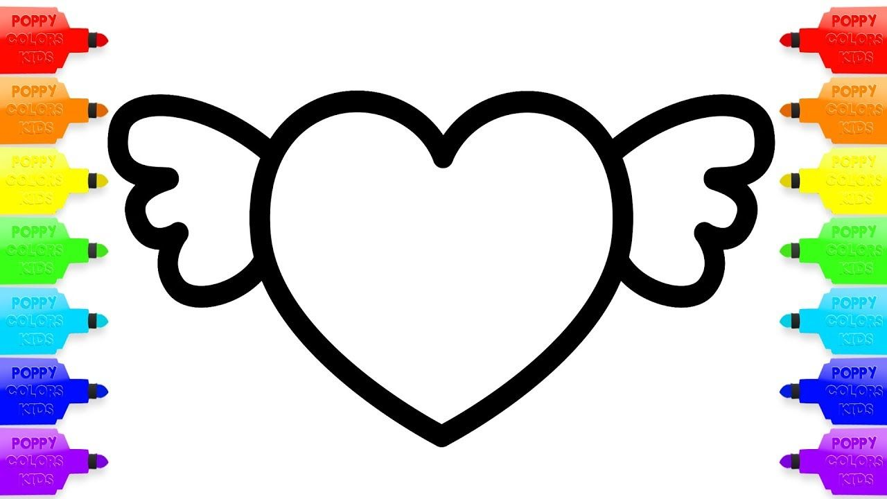 Heart with Wings Coloring Pages   Drawing for Children   Heart Art ...