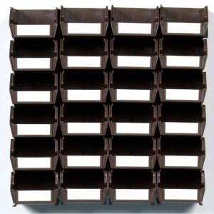 Locbin 0 301 Gal Small Bin System In Brown 24 Bins And 2 Wall Mount Rails 3 220brws In 2020 Wall Storage Systems Wall Storage Unit Wall Storage