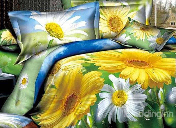 Dewy White And Yellow Daisy Print Polyester 4 Piece Duvet Cover Sets Duvet Cover Sets Duvet Covers Nursery Bedding Sets Girl