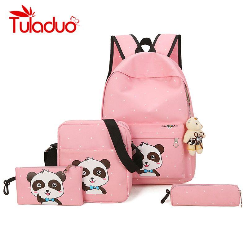 1105421224 Tuladuo 4 Set Backpack Female School Bags for Teenage Girls Cute Panda Backpack  Set Big Laptop Backpacks with Free Gifts mochila