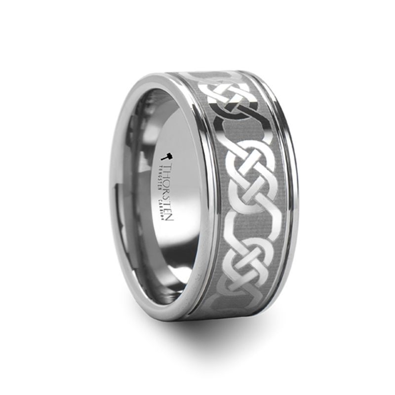 Caesar Tungsten Carbide Wedding Band With Celtic Pattern 6mm 10 Mm