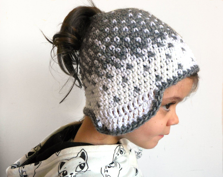 CUSTOM Kids messy Bun Hat Beanie. Crochet Girl Ponytail Toque. Knit Wool Runner Headdress with Earflaps. White grey Kidswear skiing Gifts #kidsmessyhats