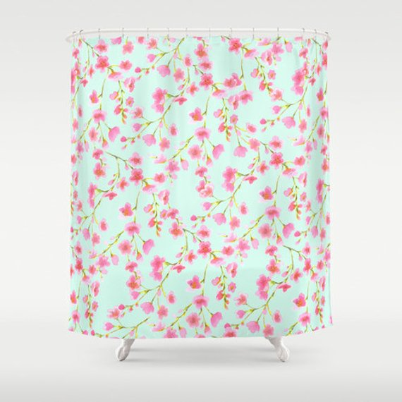 Pink And Mint Floral Shower Curtain Cherry Blossom Pattern Watercolor Shabby Chic French
