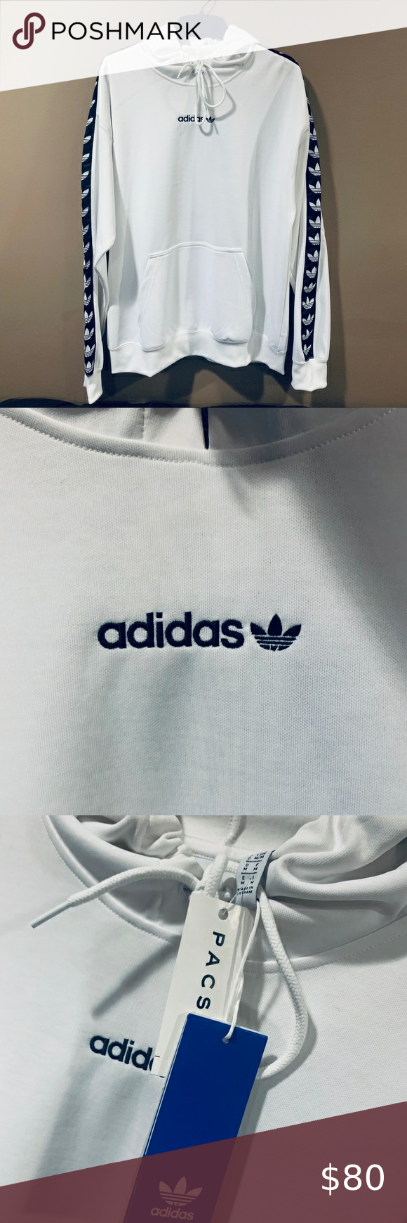 Adidas Originals Tnt Tape Hoodie White Sz M White Hoodie Adidas Originals Sweatshirt Shirt [ 1740 x 580 Pixel ]