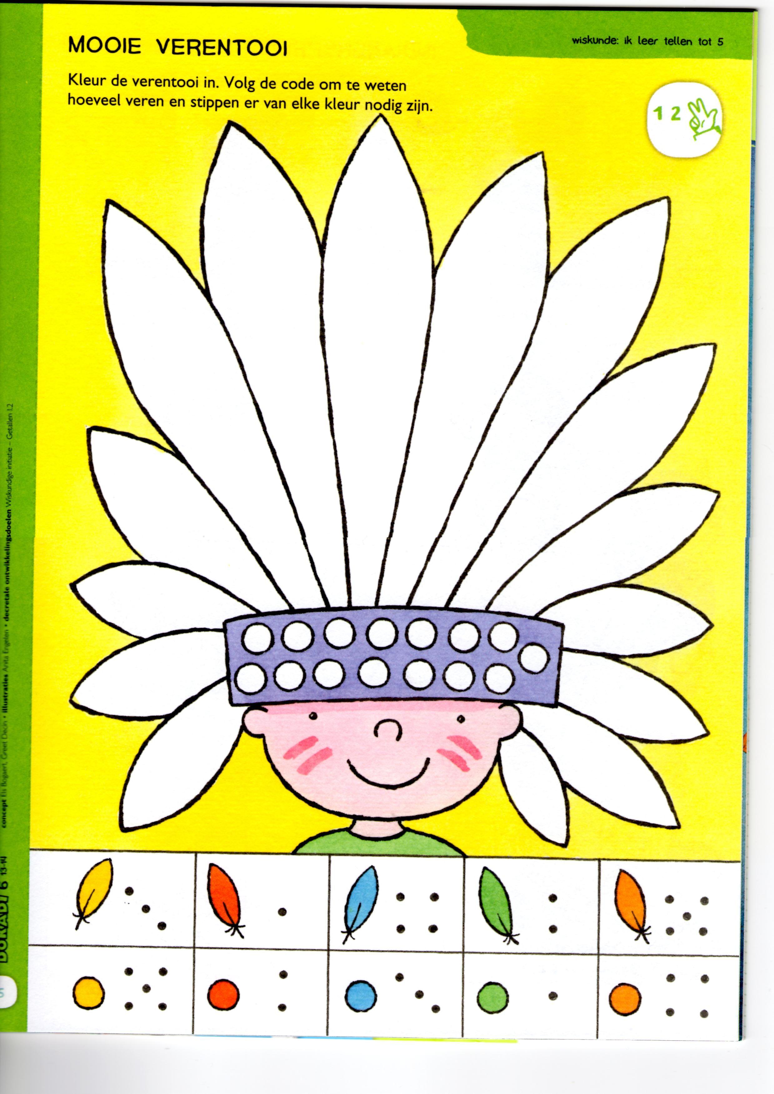 Kleurplaten Indianen Veren.Een Mooie Verentooi Indiaan School En Cowboys