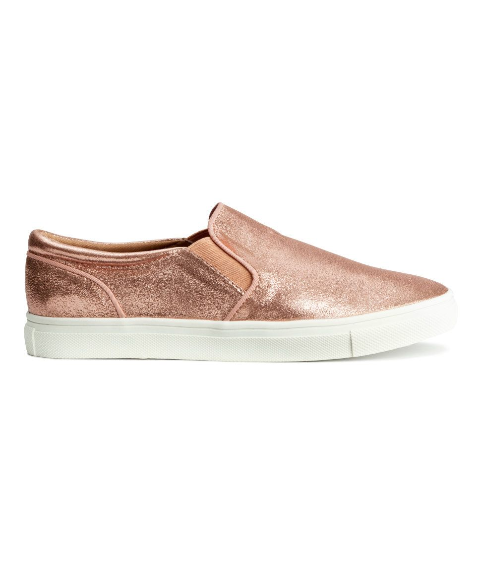 4b314bd67bb Treat yourself to some rose gold slip-on shoes.