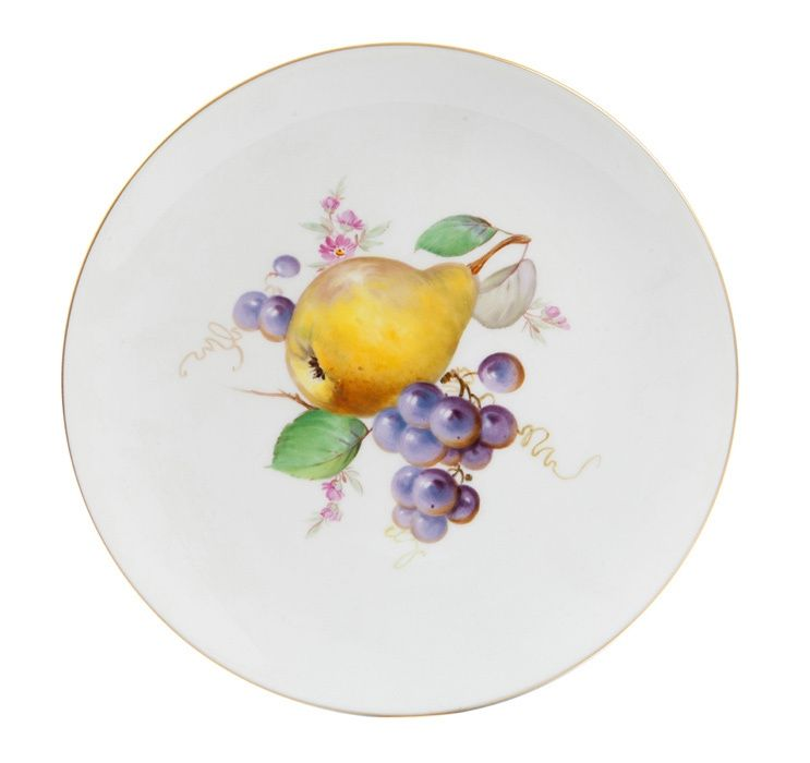 Wall plate, 2 fruits, gold rim,