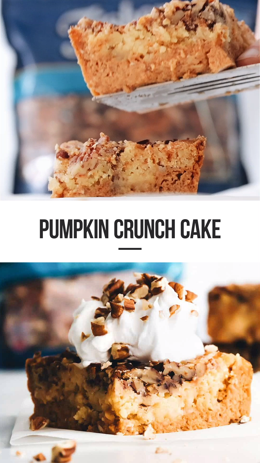 AD | Pumpkin Crunch Cake is brimming with fall flavors. Top each slice with a dollop of whipped cream and chopped pecans to create the perfect pumpkin dessert! Sponsored by Fisher Nuts