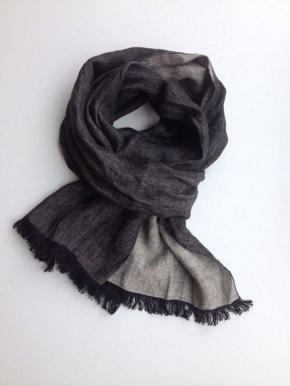 Dark Mens Scarf Rustic Linen Scarf Gift for Men by Linenbeeshop