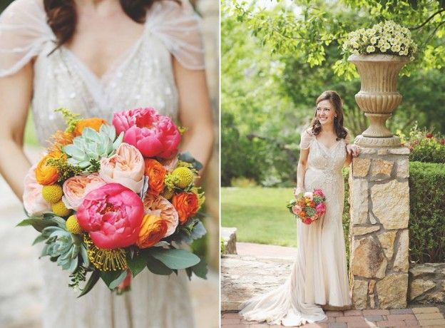 Colorful spring bridal bouquet of coral peony, succulents,juliette garden roses and pincushion protea. Bouquets of Austin|Barbara's Brides|Diana Lott Photography|Nature's Point Event Center