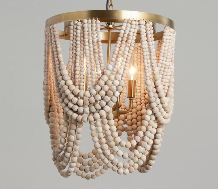Neutral Nursery Chandelier Options That Really Stand Out Little Crown Interiors Wood Bead Chandelier Wooden Bead Chandelier Draped Beading