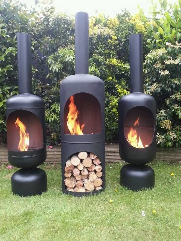wood burning iron chiminea garden fireplace ideas fire pits ...