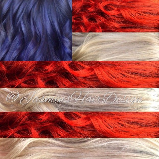 Happy 4th of July! #Red #blonde #blue #curls #flag