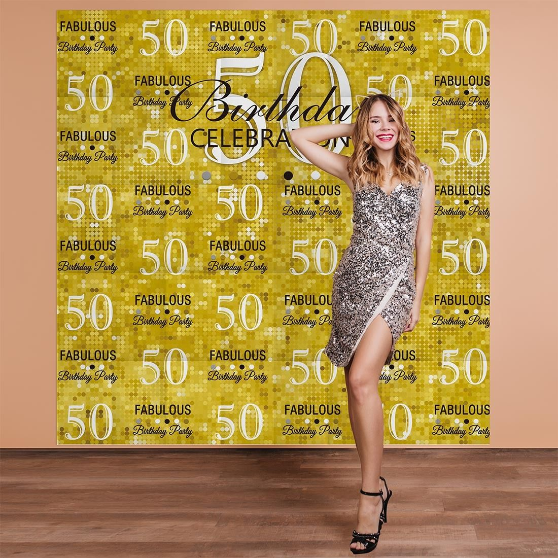 7X5FT Black and Gold 50th Birthday Backdrop Glitter Adults Fifty Years Old Party Decorations Photography Background Photo Booth Banner