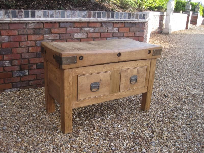 Antique Butchers Chopping Block With 2 Drawers Butchers Block Chopping Chopping Block Butchers Antique Blo Butcher Block Tables Butcher Block Butcher