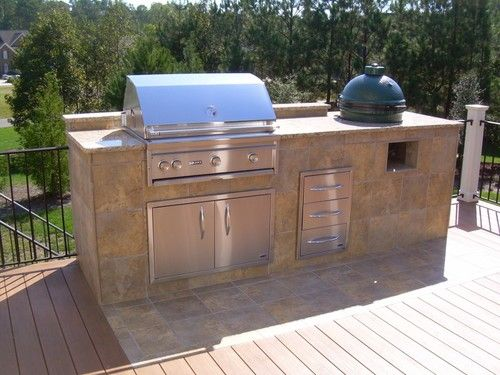 10 Ft Straight Bbq Island Plan Woood Deck With Smoker Egg Outdoor Kitchen Grill Outdoor Barbeque Outdoor Kitchen Island