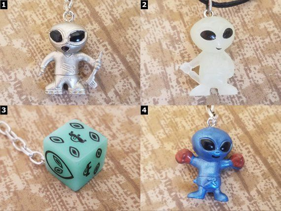 Alien Accessories - Area 51 Necklaces, Keychains, Chokers, Cell Charms, Audio Jack Plugs & Earrings #area51partyoutfit