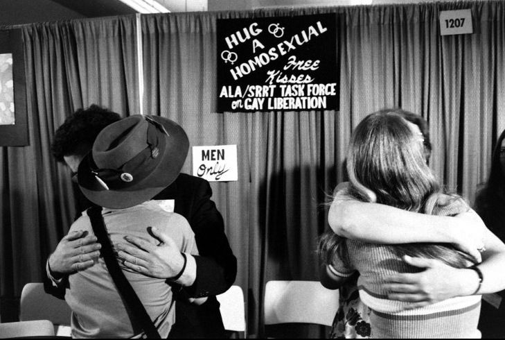 """Hug a Homosexual"" booth at 1971 American Library Association conference."