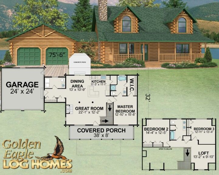 New 2013 Golden Eagle Log Homes Floor Plan New Version Of The Oakridge Log Home Floor Plans Log Cabin Floor Plans House Floor Plans