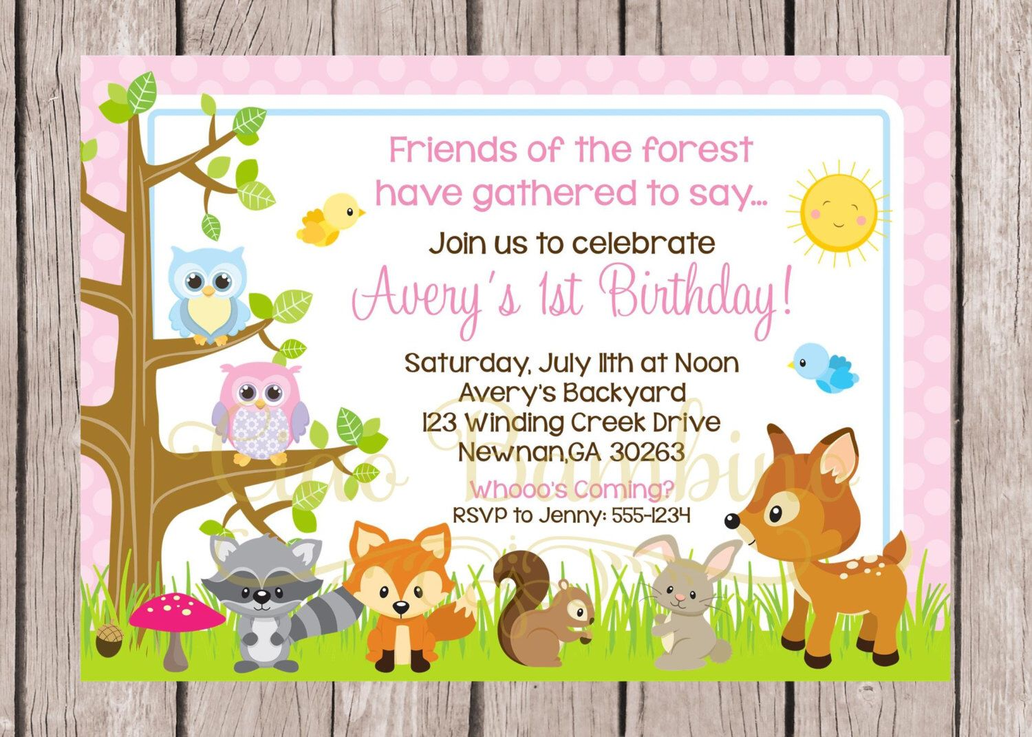 PRINTABLE Woodland Forest Animal Birthday Party Invitation for Girls ...