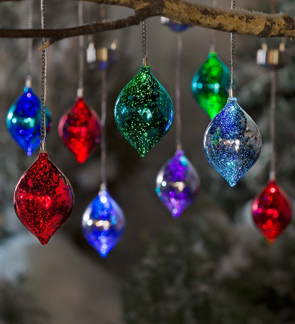 SO UNIQUE! Color Changing Mercury Glass Solar Ornaments