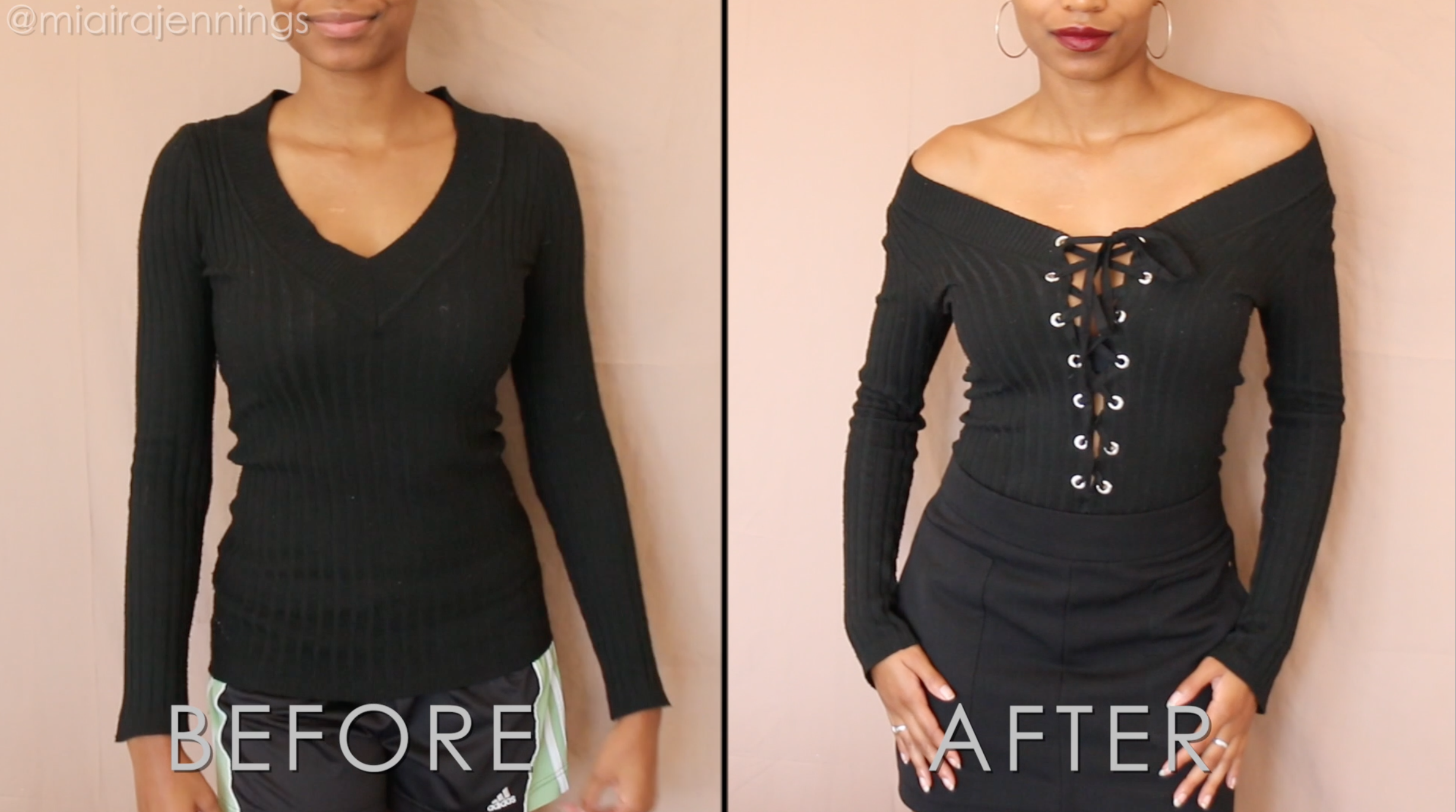 DIY way to transform a basic v-neck shirt sweater into a cute lace-up off  the shoulder top with no sewing! ✂️ 28429e4b5
