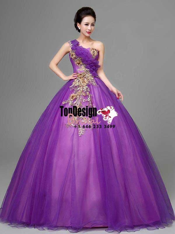2017 New Applique Sweet 15 Ball Gown One-Shoulder Purple Satin Tulle ...