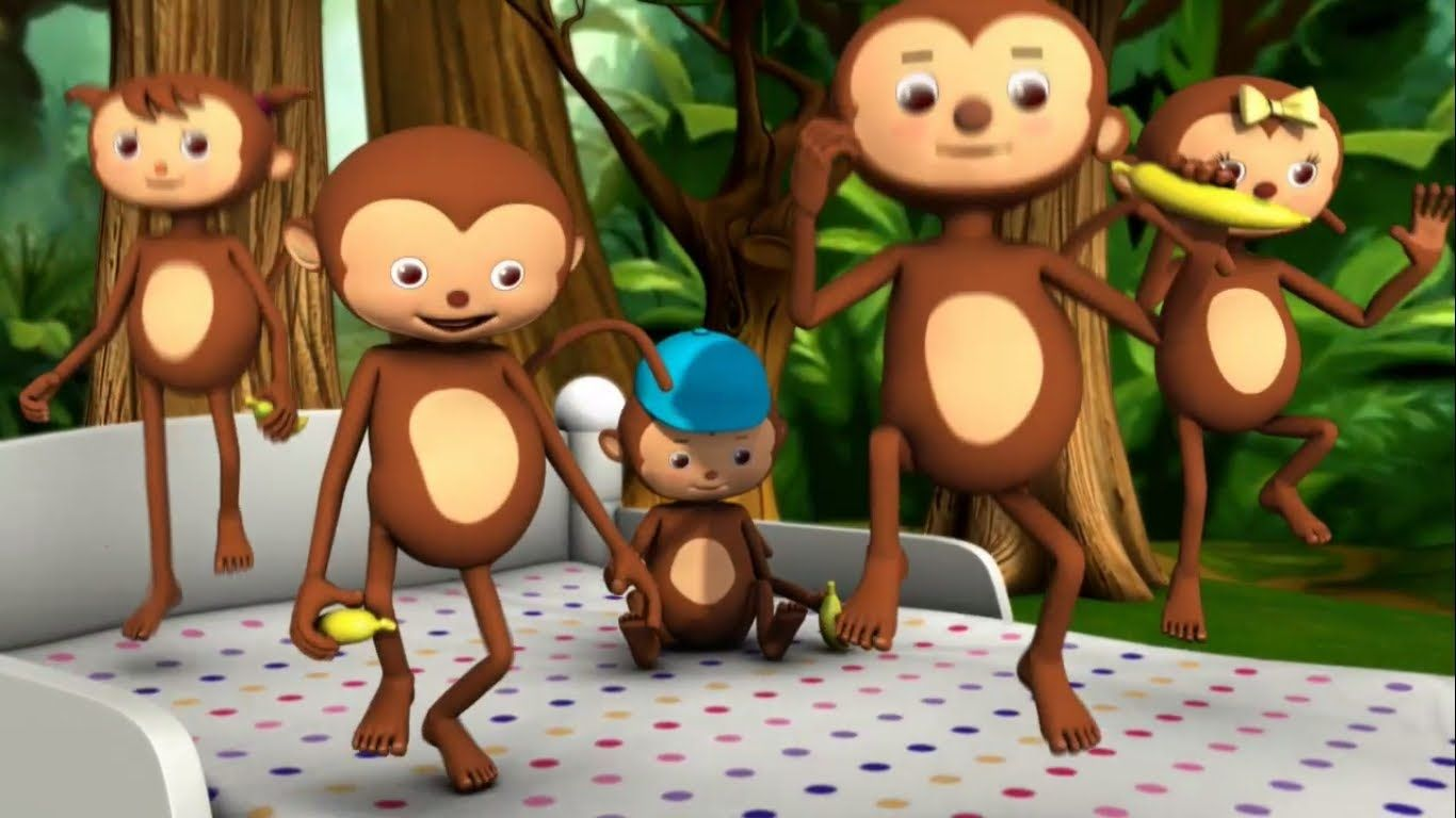 Five Little Monkeys Jumping On The Bed New High Quality Animation Five Little Monkeys 5 Little Monkeys 5 Little Monkeys Song