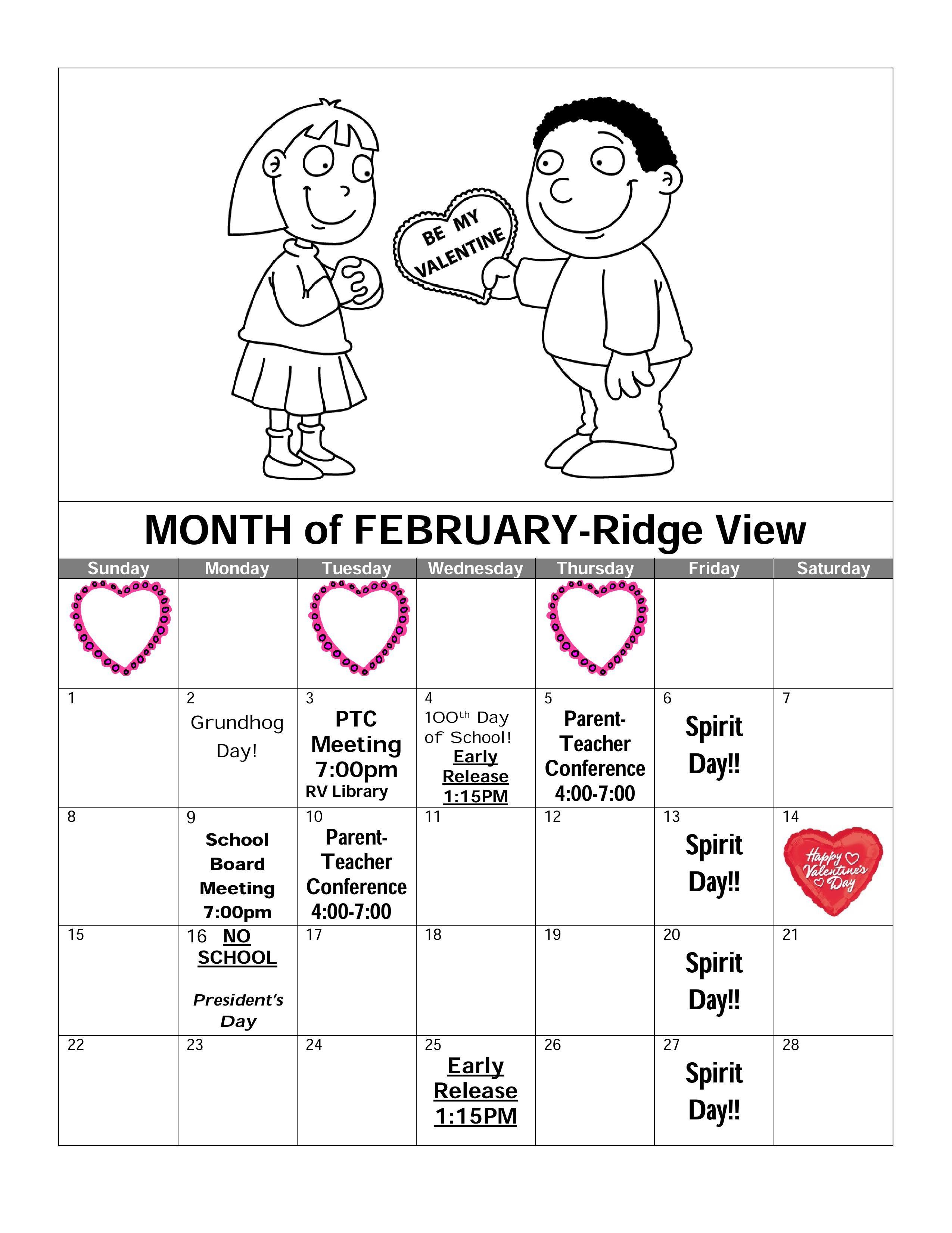 Ridge View February Calendar