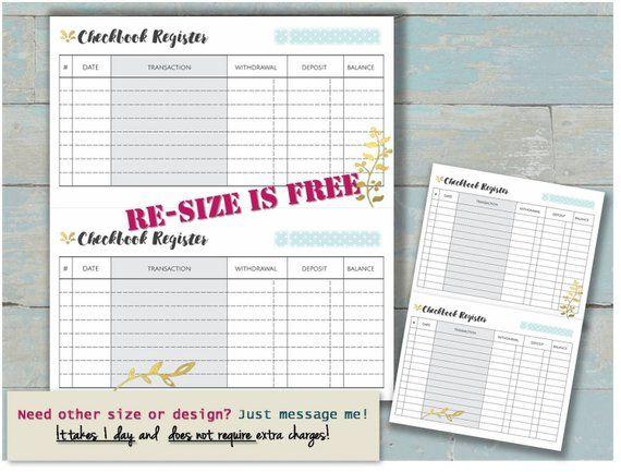 checkbook register printable budget binder check book balance budget