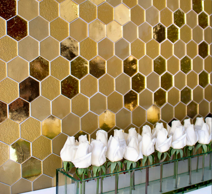 gold metallic handcut glass mosaic tile