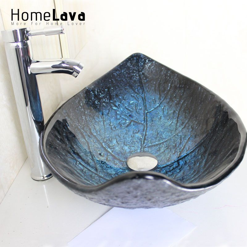 Leaf Shape Tempered Glass Wash Sink With Faucet Basin Chrome Amazing Sink Bowl Bathroom Design Inspiration