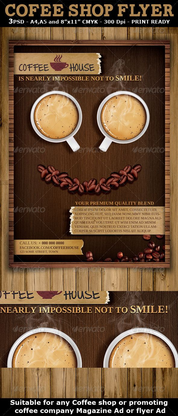 Coffee Shop Magazine Ad Or Flyer Template Is A Modern And Attractive Psd  Template Design Suitable