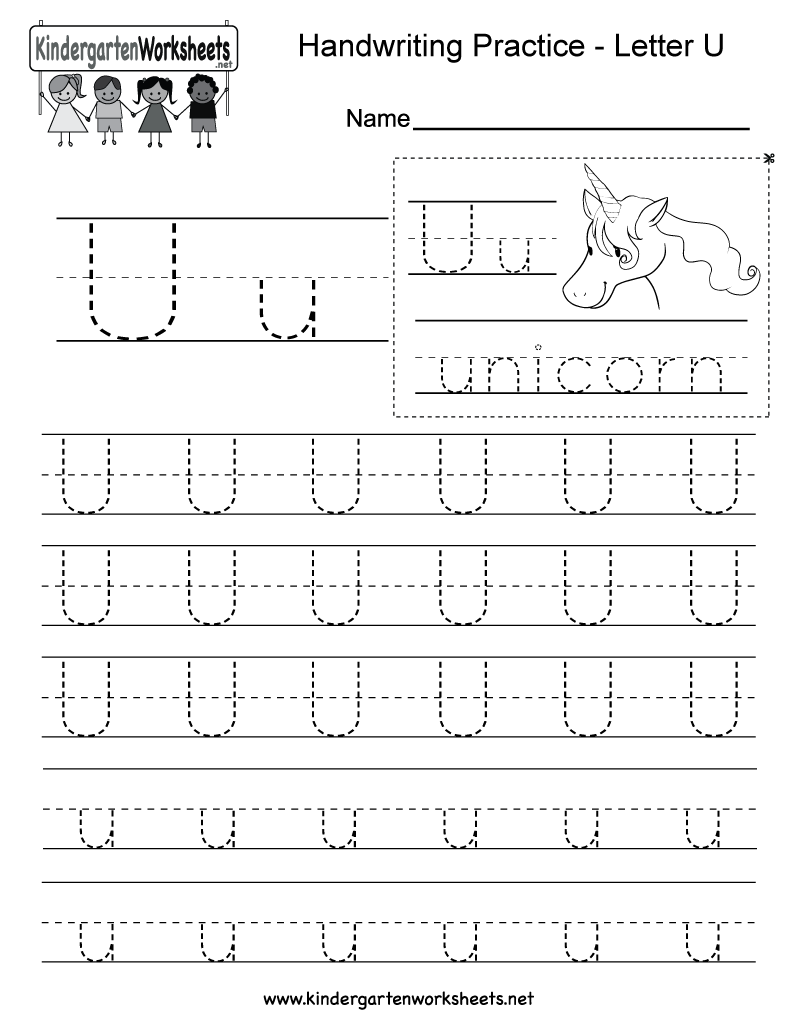 Letter U handwriting worksheet for kindergarteners. This series of  handwriting alphabet worksheets can also be