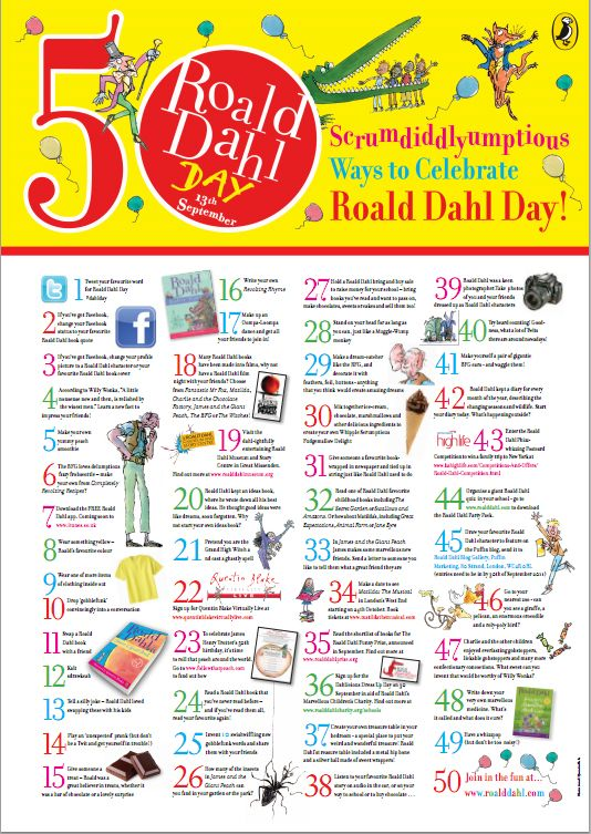 Foods, Activities and Crafts To Celebrate Roald Dahl Day