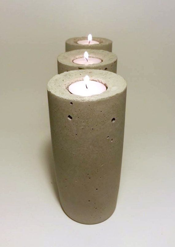 Pillar Candle Concrete Candle Candle Holder by DeerwoodCreekGifts, $25.00