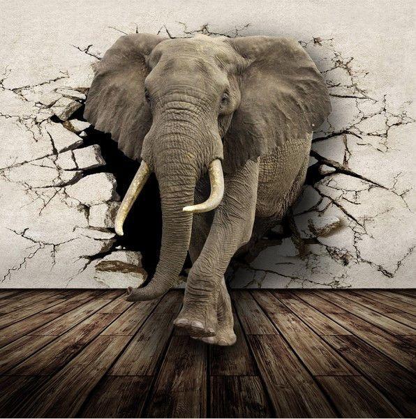 Lifelike 3d African Elephant Photo Wall Mural Animal Mural Elephant Wallpaper Mural Wallpaper