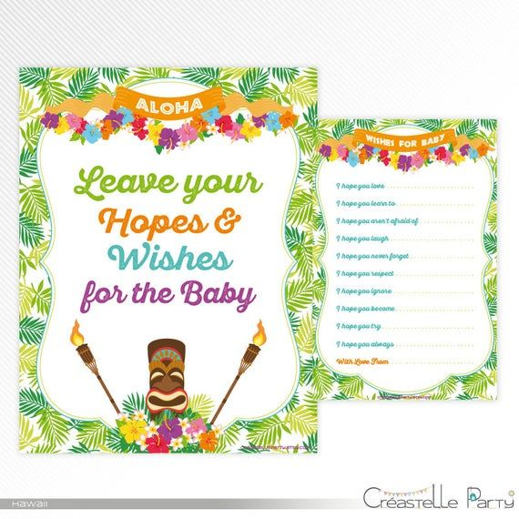 Hawaiian luau Wishes card and sign, tropical baby shower printable game, instant download #hawaiianluauparty