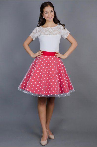 1e10d1882 Červená s puntíkatým tylem 3/4 kolová sukně barevný bavlněný podklad +  puntíkatý tyl délka 53 cm zip + knoflíčky na zadní straně sukni vám ušijeme  na míru