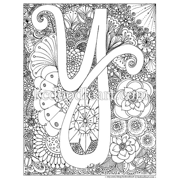 Instant Digital Download Letter Y Adult Coloring Page Adult