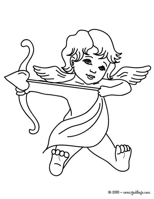Dibujo para colorear : Cúpido disparando Amor | Archivo san Valentín ...