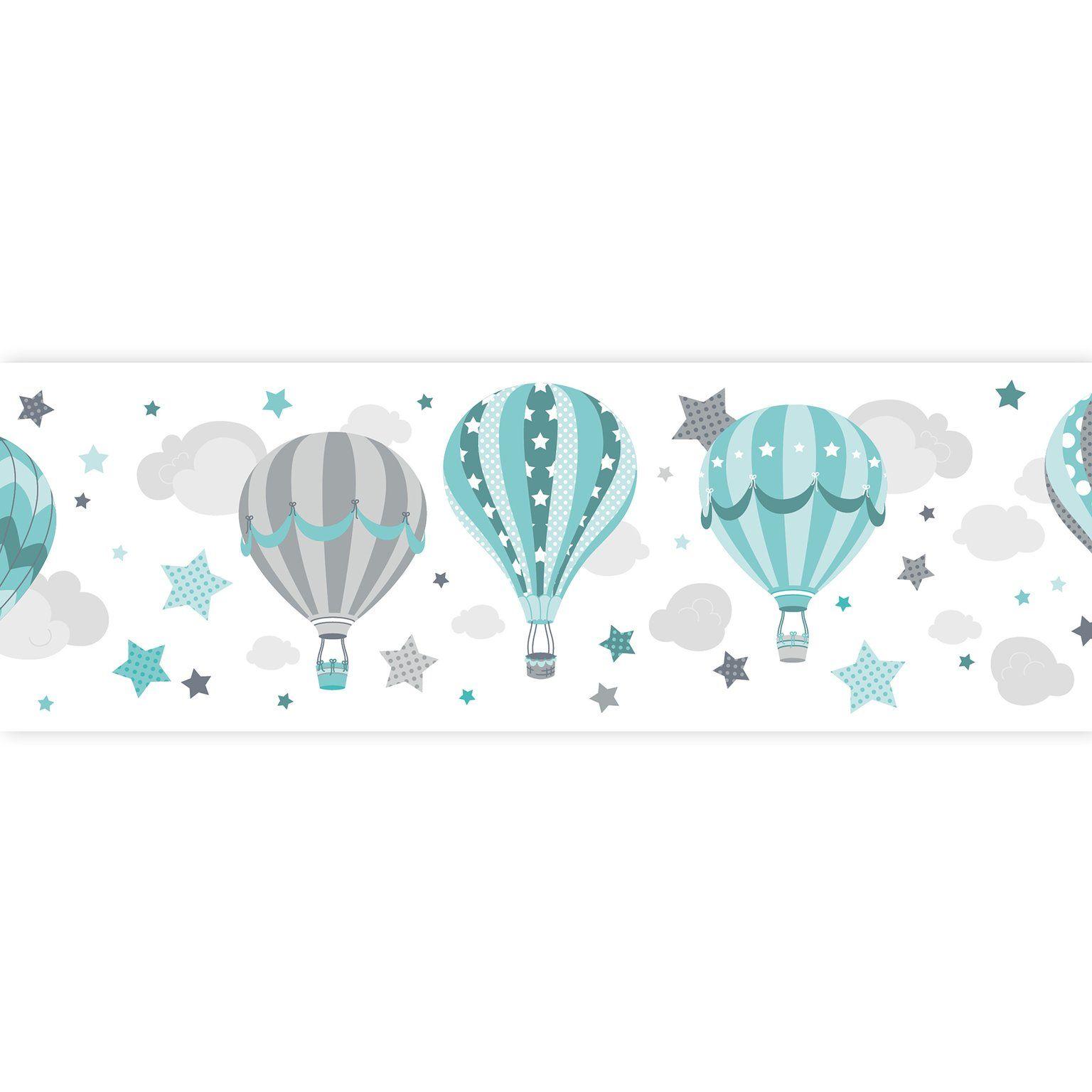 Dinki Balloon Kinder Bordure Heissluftballons Mint Grau Jade Selbstklebend Bei Fantasyroom Online Kaufen In 2020 Luftballons Selbstklebende Bordure Tapezieren