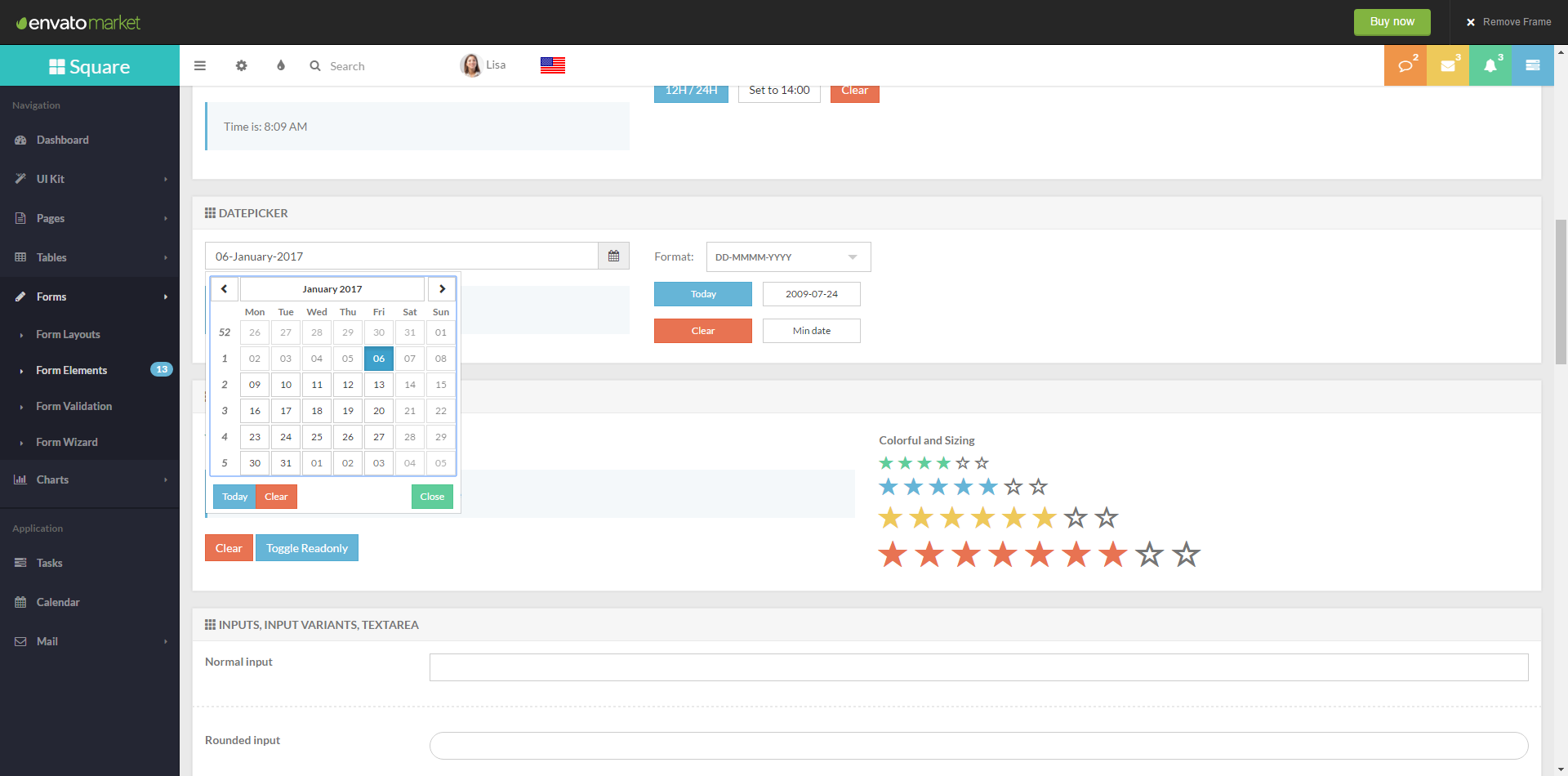Square Responsive Admin App with AngularJS Preview