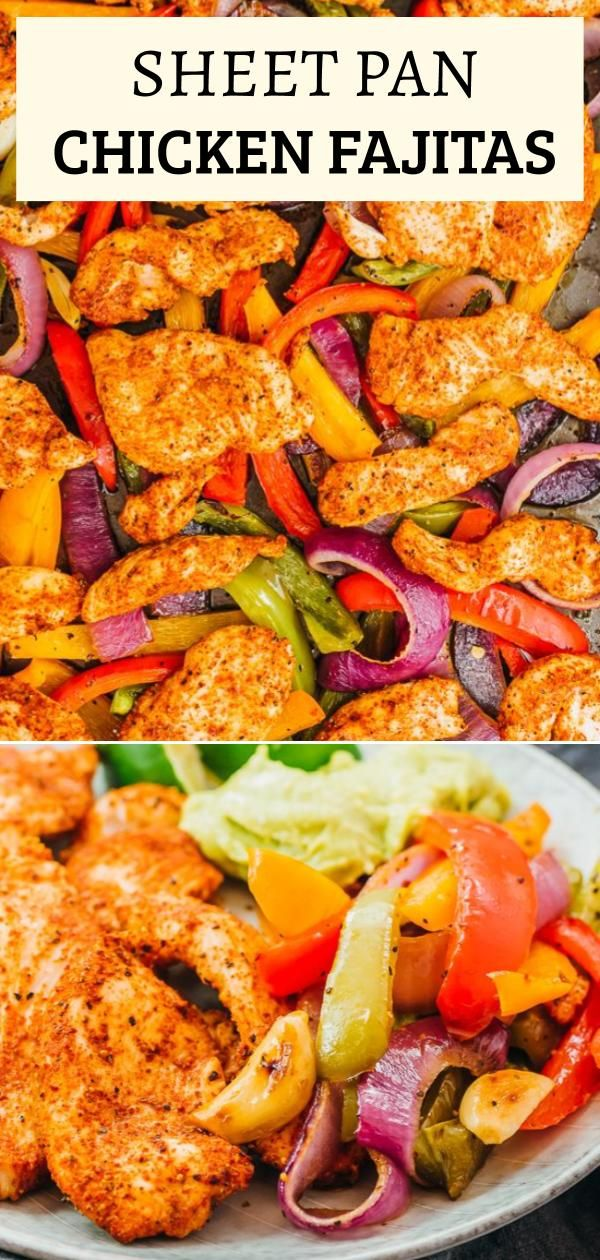 This is an easy and healthy recipe for chicken fajitas, all baked on one sheet pan in the oven. Tender bites of chicken coated with some simple spices for the homemade seasoning, paired with juicy vegetables like bell peppers and onions. These keto friendly fajitas make for a quick Mexican dinner, and go well with low carb wraps, lime wedges, sour cream, and guacamole. Click the pin to find the recipe, nutrition facts, and more photos.