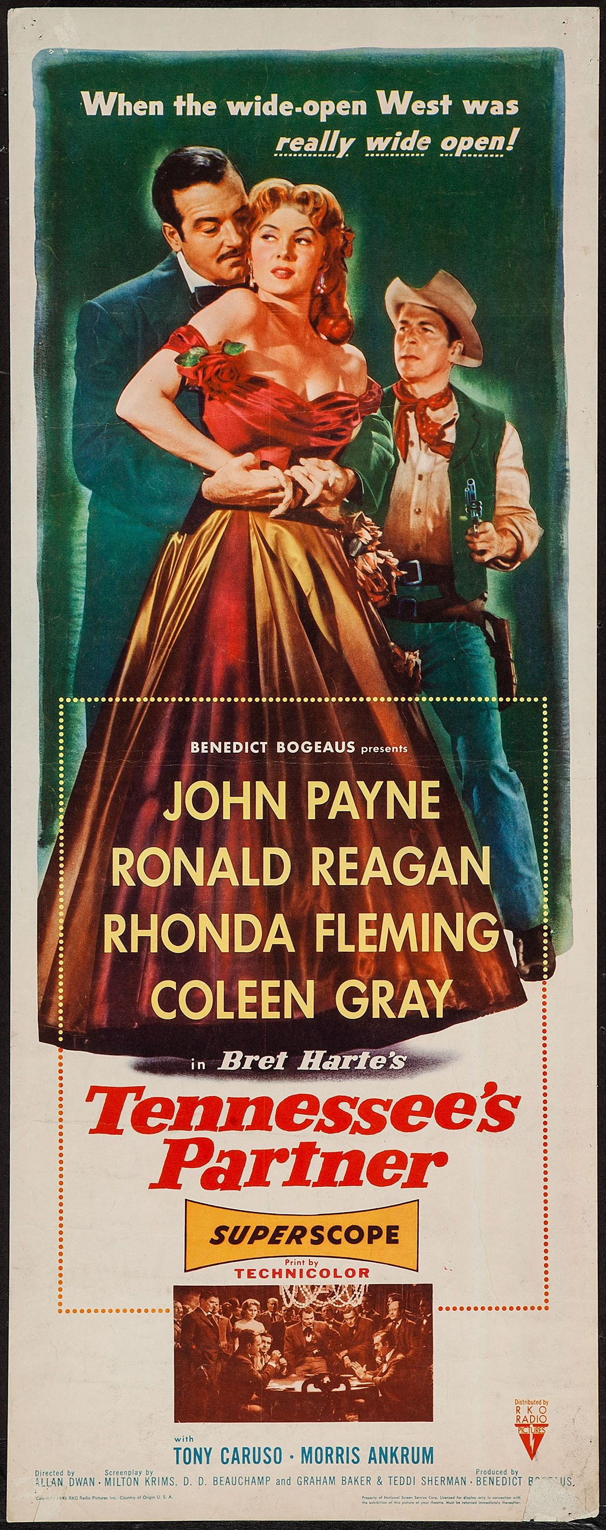 Tennessee's Partner (1955) Stars: John Payne, Ronald Reagan, Rhonda Fleming, Coleen Gray, Anthony Caruso ~ Director: Allan Dwan