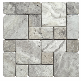 Avenzo Silver Natural Stone Mosaic Indoor Outdoor Wall Tile Common 12