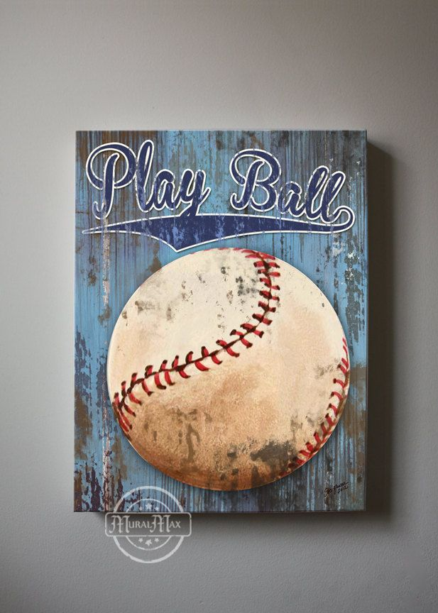 Great Baseball Art Sports Nursery Canvas Art Baseball By MuralMAX, $51.00