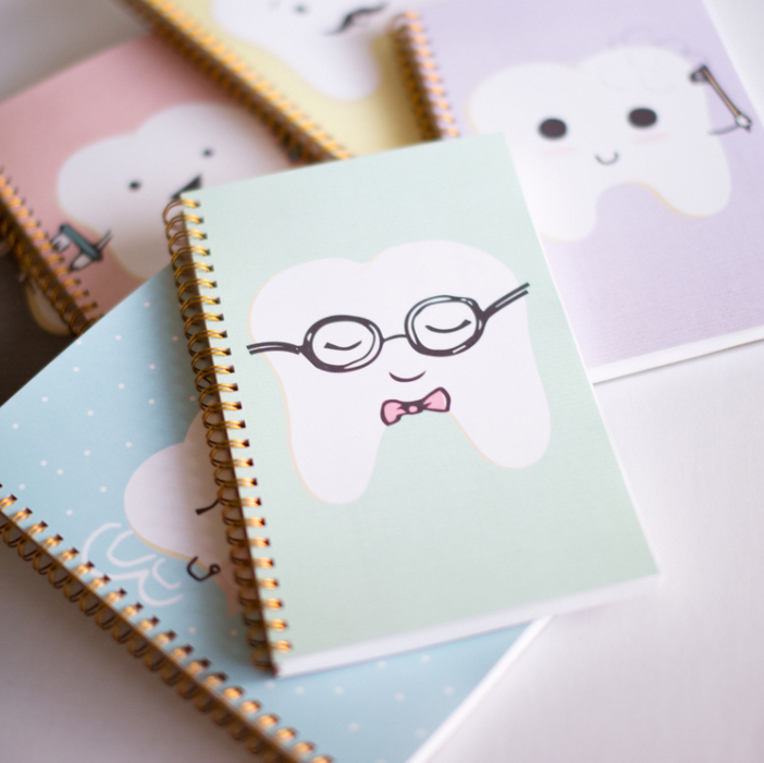 The perfect pair. Our Lilac Notebook + Dental Facts! 120 ruled pages followed by our popular Dental Facts pages (excludes the
