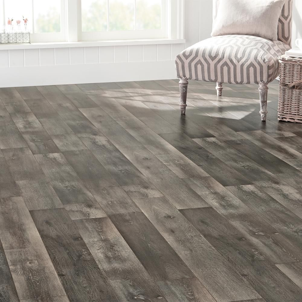 Home Decorators Collection Eir Courtship Grey Oak 8 Mm Thick X 6 58 In Wide X 47 80 In Length Laminate Flooring 26 19 Sq Ft Case Hl1269 The Home Depot Laminate Flooring Flooring Grey Oak