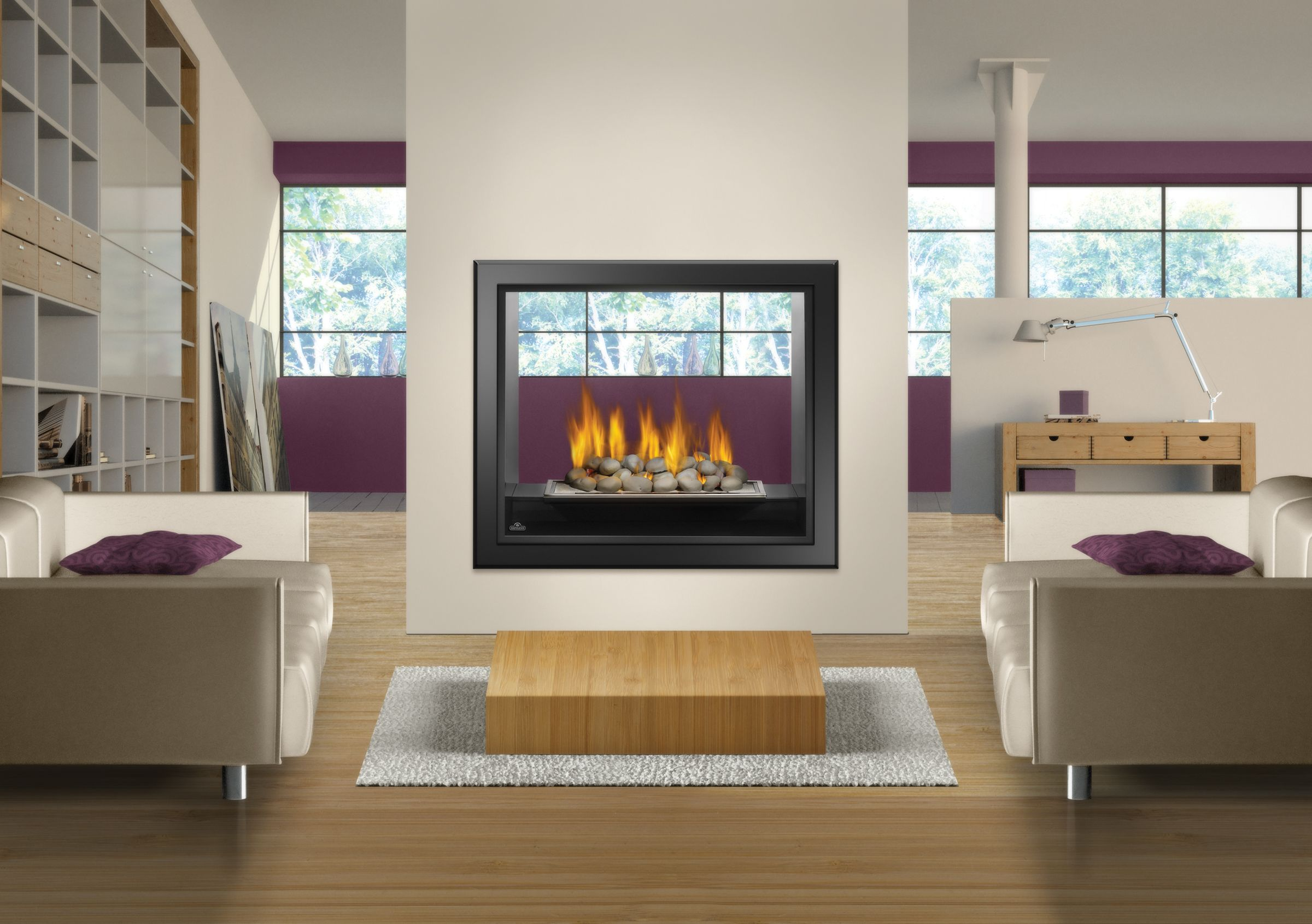 Napoleon hd81 large see thru fireplace with great heat for Open sided fireplace